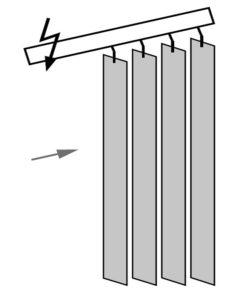 Вертикальные жалюзи Наклонные, раздвижка к большей высоте