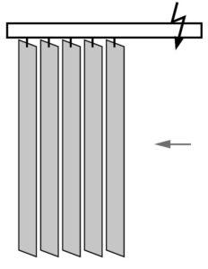 Вертикальные жалюзи, раздвижка от управления
